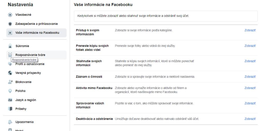 Deaktivácia a odstránenie Facebooku