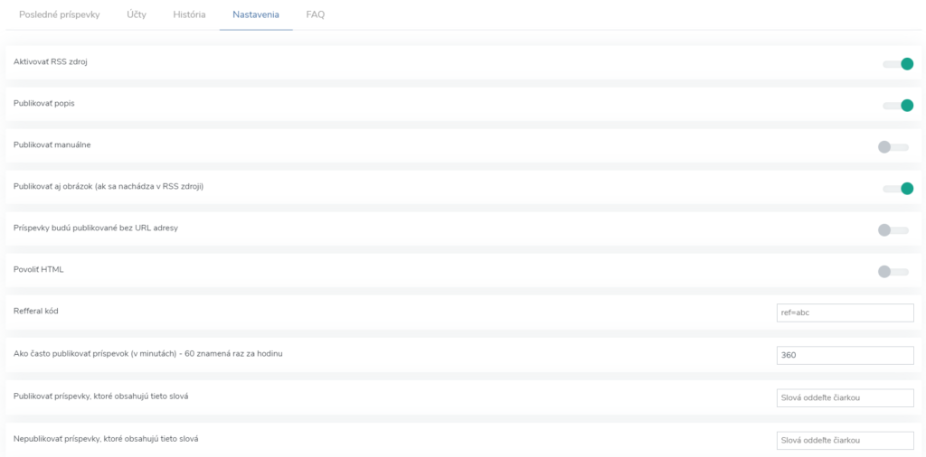 Nastavenia RSS zdroja (feedu) pre automatické publikovanie príspevkov na Twitter.
