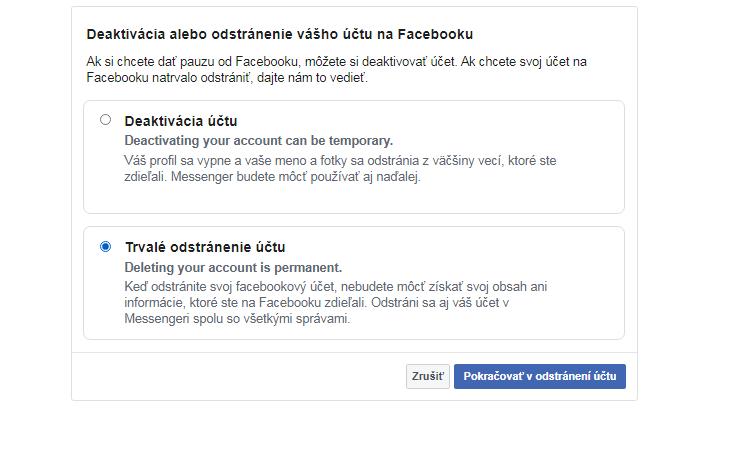 Trvalé odstránenie Facebook účtu